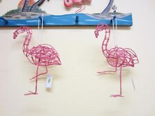 "Pair of Pink Flamingo Ornaments--Wire Sparkly Mingos-9½"" tall--Use All Year-NWT"