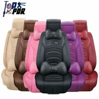6D Luxury Universal PU Leather 5-Seats Car Seat Covers Cushion Front+Rear Pillow
