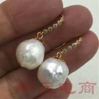 Gold hooks earbob natural 13-14MM HUGE baroque pearl earrings 18K GOLD  sweater