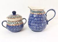 Vintage Zaklady Boleslawiec Polish Pottery Sugar and Creamer Set EUC