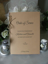 ORDER OF SERVICE COVERS, WEDDING RUSTIC VINTAGE x 70 FREE POSTAGE