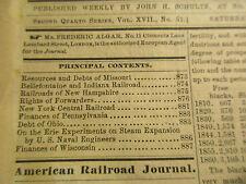 American railroad journal 1861 vol. 17 no.51 Railroads New Hampshire NY Central