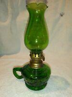 VINTAGE FINGER GREEN MINIATURE KEROSENE OIL HURRICANE LAMP LANTERN LIGHT