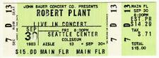Robert Plant _Rare_ 1983 Seattle Concert Ticket Main Floor Vtg led zeppelin rock
