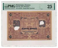 MONTENEGRO banknote 50 Perpera 1912 PMG VF 25 Very Fine condition