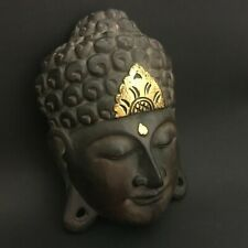 Buddha Face Wooden Mask Hand Carved Wall Sculpture Hanging Traditional Style
