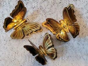 Vintage Home Interior Brass Goldtone Metal 3D Butterflies Homco Wall Accents