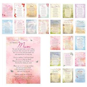 Graveside Memorial Cards With Verse Flower Card Husband Mum Son Pet Dad etc