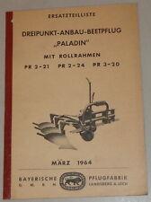 "Teilekatalog Bayerische Pflugfabrik Dreipunkt-Anbau-Beetpflug ""Paladin"" - 3/1964"