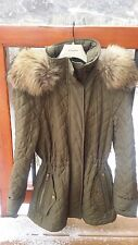 Burberry Quilted Asiatic Racoon Fur Trim Parka, detuchable hood, S, retail $ 999