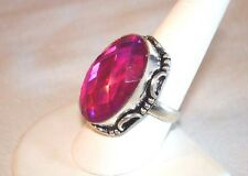 AB Oval Tourmaline Pink Rainbow Mystic Topaz Solitaire Ring .925 Silver Size 8.5