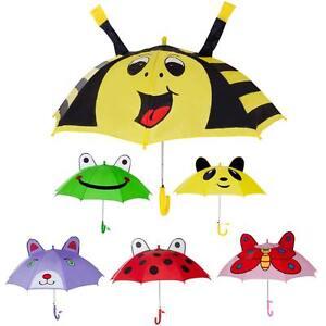 Cute Kids Children's Animal Umbrella 3D Ear Cartoon Hook Handle Rain Brolly