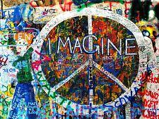 Impresión arte cartel Foto Graffiti Mural Calle imaginar la paz nofl0232
