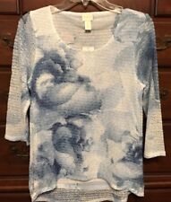 Chico's Matin Blue Floral Blue Woven Hem Sweater Size 0 (4/6) NWT