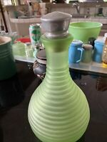 Vintage Antique Frosted Green Depression Glass FRIGIDAIRE Water Bottle Decanter