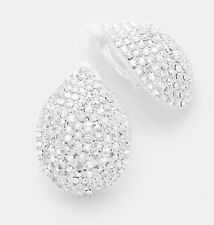 "1.25"" Big Clip On Stud White Silver Clear Pageant Crystal Rhinestone Earrings"