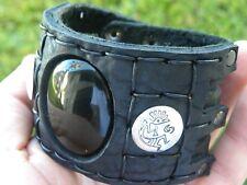 Men Cuff Black Bracelet  Bison leather 925 sterling silver Kokopelli  Onyx stone