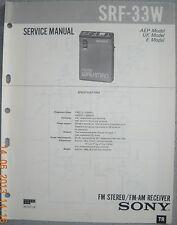 SONY SRF-33W 2-Band Radio Service Manual