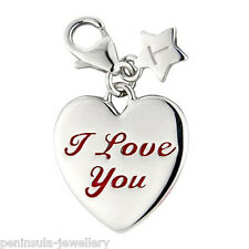 Tingle I Love You Heart clip on Sterling Silver Charm with gift Bag and Box