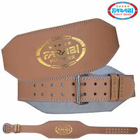 """Farabi Weight Lifting Belt Gym Training Fitness 6"""" Back Support Strap Brown"""