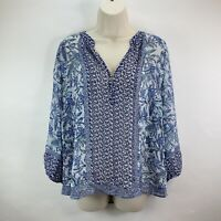 Joie 100% Silk Blue Ivory Floral V Neck Blouse Top Size S Long Sleeve Popover