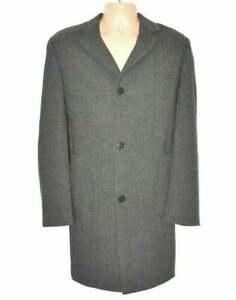 Men's Vintage ABRAMS ANSON'S Brown Herringbone Wool Overcoat L Pit To Pit 23.5in
