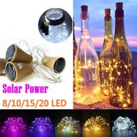 10/20 LED Solar Wine Bottle Cork String Light Night Fairy Party Light Lamp @L12