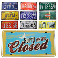 Vintage License Plate Style Wall Tin Sign Iron Metal Poster Home Club Decor