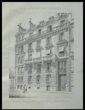 PARIS, 16 RUE DE BOURGOGNE - 1894 - PLANCHE ARCHITECTURE - GUSTAVES RIVES