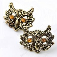 Cute Bronze Plated Owl Stud Earrings Rhinestone Orange Eyes Fashion Jewellery