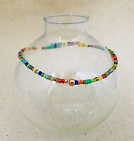 Stretch Ankle Bracelet Seed Bead Pretty Multi Color