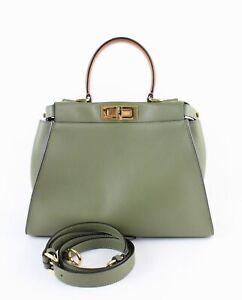 Fendi Auth Olive Green Tan Leather Medium Peekaboo Satchel Handbag Shoulder Bag