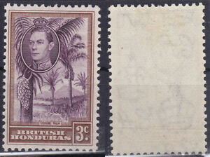 British Honduras 1938 3 Cent Sc-117 KGVI Cohune Palm Trees MLH - US Seller