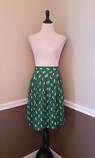 NWT Modcloth Skirt US 12 Green Dragonfly Midi Retro Insects Circus Inner Pleats