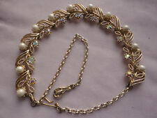 """Vintage CORO deco / nouveau goldplated pearl AB crystal 38 gram 13-16"""" necklace"""