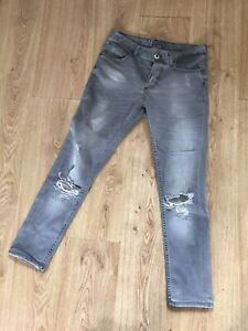 Zara Mens Jeans 30 Grey 30 X 28 Skinny Slim Distressed