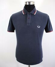 """Mens FRED PERRY Polo shirt, Size M 46"""" , short sleeve, navy blue cotton BL1714"""