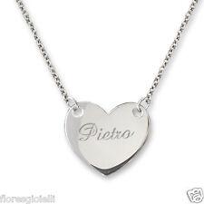 Collana con ciondolo cuore con incisione personalizzata, argento 925.
