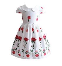 Nuevo Chica Verano Algodón Rosa Vestido de fiesta azul rojo 4 5 6 7 8 años