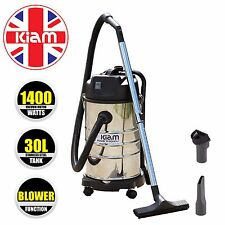 30l Wet & Dry Vacuum Cleaner With Blower 1400w Stainless Steel Tub Kiam KV30B