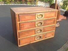 """WW1 Military Campaign Mahogany 4 Chest of Drawers 13.5"""" High x 18"""" wide"""