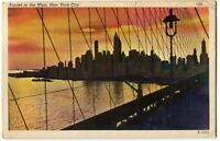 120913 New York City NY NYC Postcard Lower Manhattan Skyline at Sunset 1950