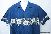 Winnie Fashion Men XL Hawaiian Aloha Shirt VTG Blue Cotton Hibiscus