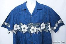 Winnie Fashion Men XL Hawaiian Aloha Shirt VTG Blue Cotton Hibiscus