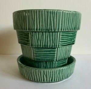 """Vintage McCoy Pottery  Green Basketweave  Basket Weave Flower Pot 5"""""""