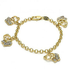 New 9 CT Gold filled Charm Bracelet, Elephant and Rolo Design, White Crystal E37