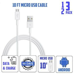 1,2,3 Pack 10' 10ft Feet Long Micro USB Power Cord Cable for android phones