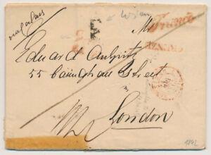 ÖSTERREICH 1842 AUSLANDS-Brief, WIEN - LONDON. ROTSTEMPELN 'Franco'+GENZE+WIEN.!