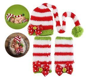 Newborn Baby Christmas Photo Shoot Props Hat & Leg Warmers Christmas Photoshoot
