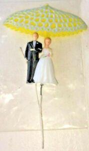 Vintage 1950's Bride & Groom Under and Umbrella Wedding Cake Topper